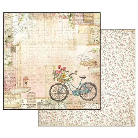 Papier scrapbooking réversible shabby roses rose