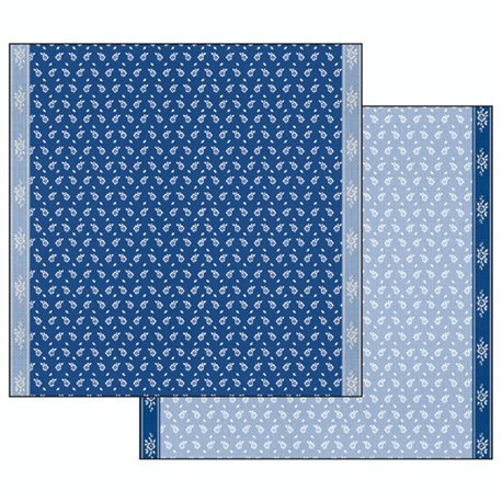 Papier scrapbooking réversible fleurs bleu