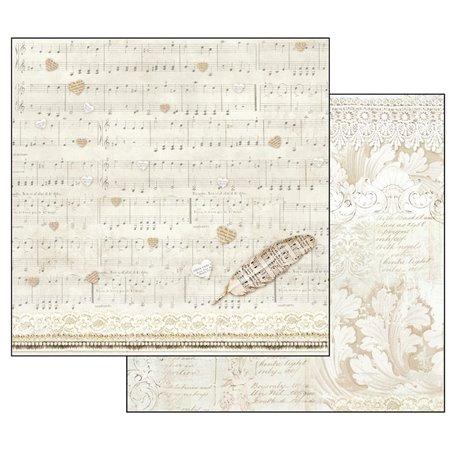 Papier scrapbooking réversible shabby partition et feuille d'acanthe