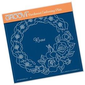 Groovi gabarit tracage parchemin fleurs roses
