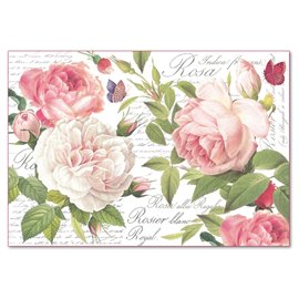 Papier de riz Stamperia shabby chic roses rose