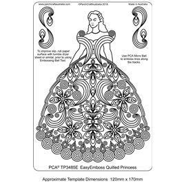 Gabarit tracage parchemin Template PCA robe de princesse quilling
