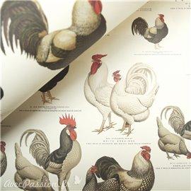 Papier tassotti à motifs coqs et poules
