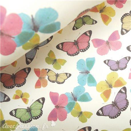 Papier tassotti à motifs papillons colorés