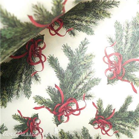 Papier tassotti à motifs branche de sapin de Noel