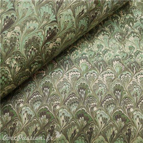 Papier italien motifs feuille d'acanthe vert