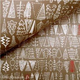 Papier tassotti à motifs sapin de noel kraft