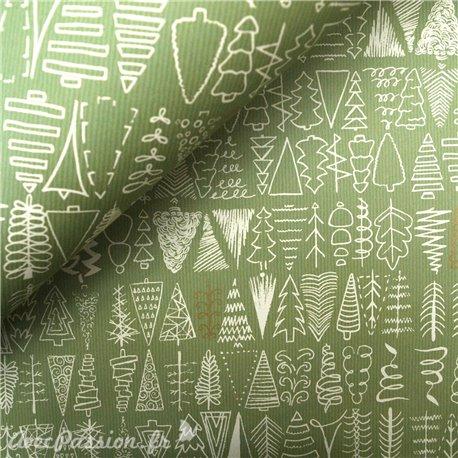 Papier tassotti à motifs sapin de noel vert