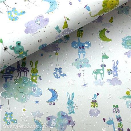 Papier Turnowsky animaux dans nuages bleu rehaussé argent