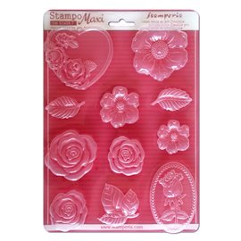Moule silicone fleur stampo maxi roses 11p