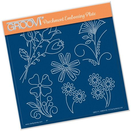 Groovi gabarit traçage parchemin fleurs de Tina Cox