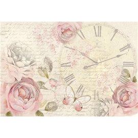 Papier de riz Stamperia shabby chic horloge et roses