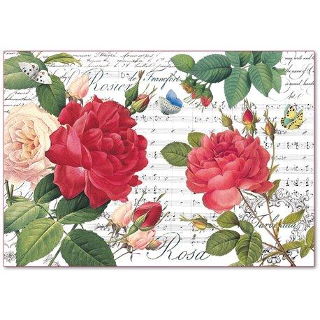 Papier de riz Stamperia shabby chic roses et partition de musique