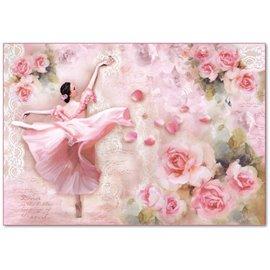 Papier de riz Stamperia shabby chic roses et danseuse