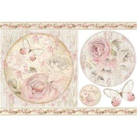 Papier de riz Stamperia shabby chic roses rose et papillon
