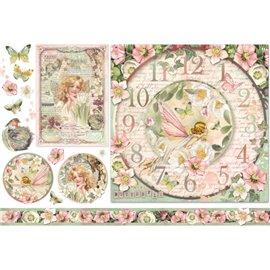 Papier de riz Stamperia shabby chic horloge flower fairies