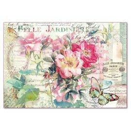 Papier de riz Stamperia shabby chic roses rose et partition de musique