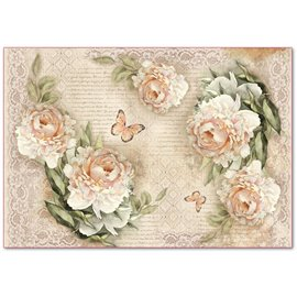 Papier de riz Stamperia shabby chic roses et écriture