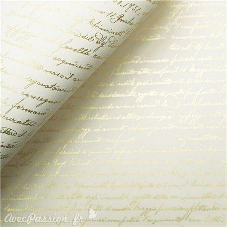 Papier tassotti à motifs écriture manuscrite doré