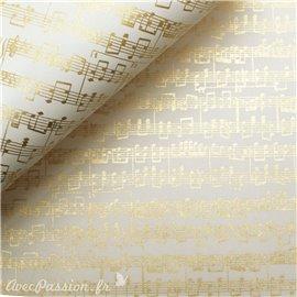 Papier tassotti motifs partition notes de musique dorée