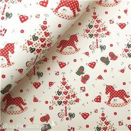 Papier tassotti à motifs sapin de noel coeur