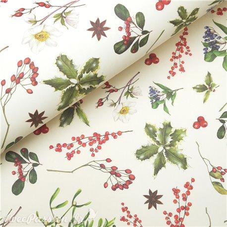 Papier tassotti à motifs fleurs de Noel