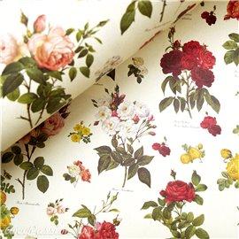 Papier tassotti à motifs fleurs roses anciennes