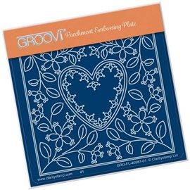 Groovi gabarit traçage parchemin fleurs et coeur de Tina Cox