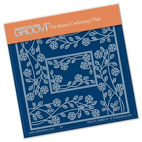 Groovi gabarit traçage parchemin fleurs Tina's rectangle flower