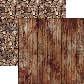 Papier scrapbooking réversible faux bois foncé