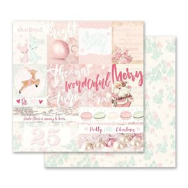 Papier scrapbooking réversible noël pretty little christmas