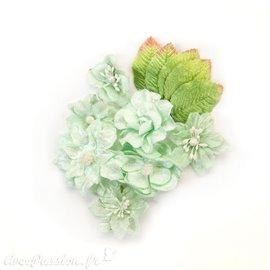 Fleurs givrées en tissu vert d'eau Embellissement Prima 12p