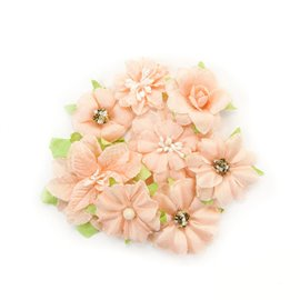 Fleurs givrées en tissu saumon Embellissement Prima 8p
