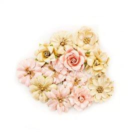 Fleurs givrées en tissu doré et rose Embellissement Prima 12p