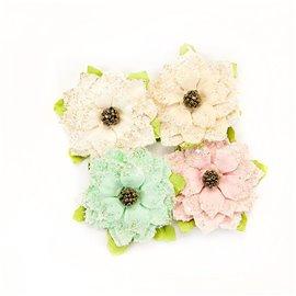 Fleurs Prima givrées en tissu pastel Embellissement 4p
