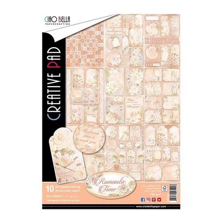 Papier scrapbooking assortiment romantic time format A4 10fe