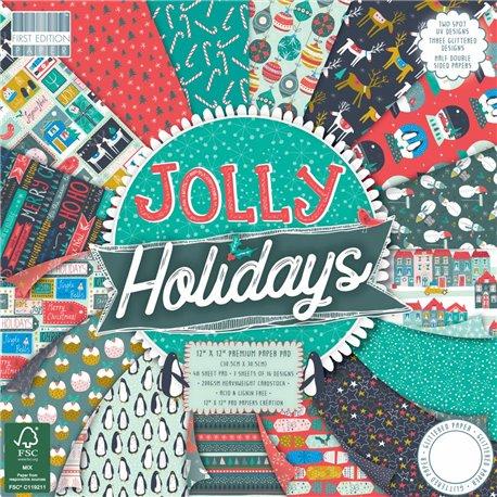 Papier scrapbooking assortiment noël jolly holidays 48fe