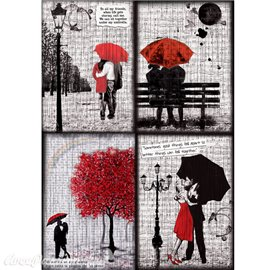 Papier de riz Ciao love is an umbrella 22x32cm