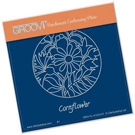 Groovi gabarit traçage parchemin fleurs bleuet