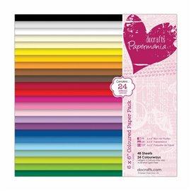 Papier scrapbooking 15x15 assortiment papermania 24 couleurs 48f
