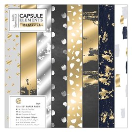 Papier scrapbooking assortiment metallics 36f recto 30x30