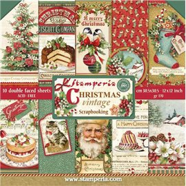 Papier scrapbooking assortiment winter vintage 10f recto verso 30x30