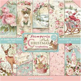 Papier scrapbooking assortiment pink winter 10f recto verso 30x30