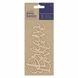 Chipboard texte dream, believe, love 3p