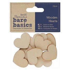 Chipboard petits coeurs en bois papermania 12p