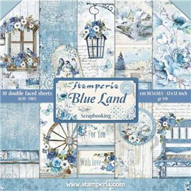 Papier scrapbooking assortiment blue land 10f recto verso 30x30