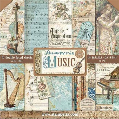 Papier scrapbooking assortiment music 10f recto verso 30x30