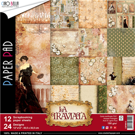 Papier scrapbooking assortiment la traviata 12fe 30x30