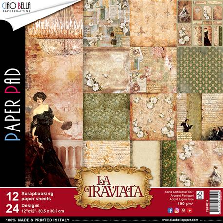 Papier scrapbooking assortiment la traviata 12fe 30x30