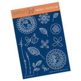 Groovi gabarit traçage parchemin fleurs doodle Tina Cox